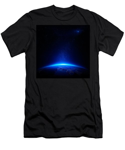Earth At Night With City Lights Men's T-Shirt (Athletic Fit)