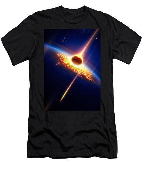 Earth In A  Meteor Shower Men's T-Shirt (Athletic Fit)