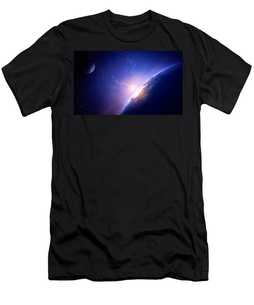 Earth Sunrise In Foggy Space Men's T-Shirt (Athletic Fit)