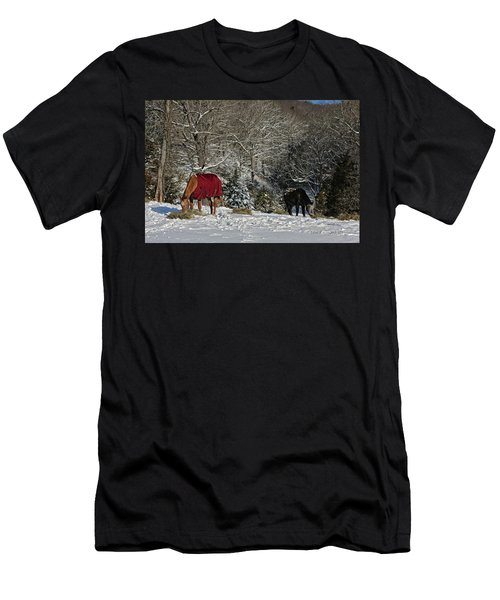Eating Hay In The Snow Men's T-Shirt (Slim Fit)