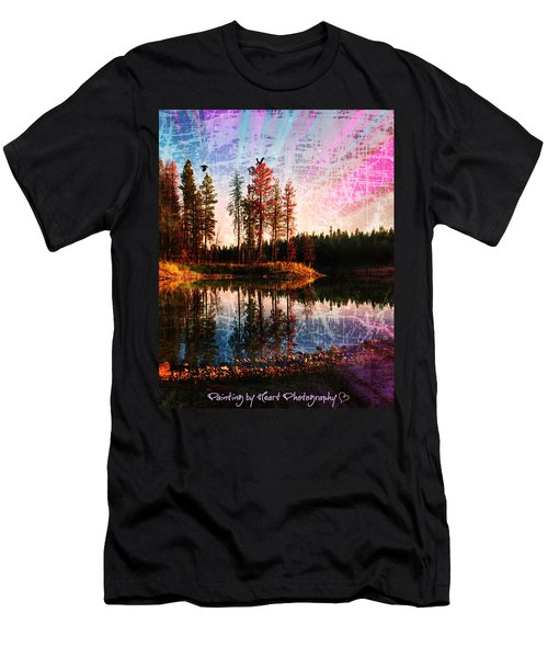 Men's T-Shirt (Athletic Fit) featuring the photograph Echo Lake In Montana by Deahn   Benware