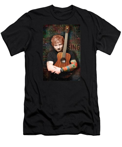 Ed Sheeran And Song Titles Men's T-Shirt (Slim Fit) by Tony Rubino