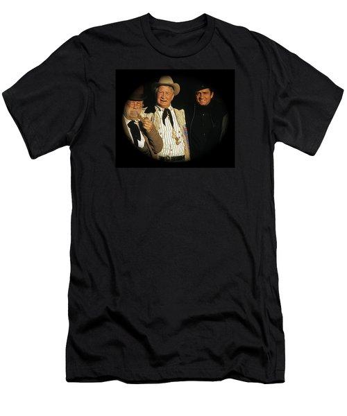 Men's T-Shirt (Slim Fit) featuring the photograph Edgar Buchanan Chills Wills  Johnny Cash Porch Old Tucson Arizona 1971-2008 by David Lee Guss