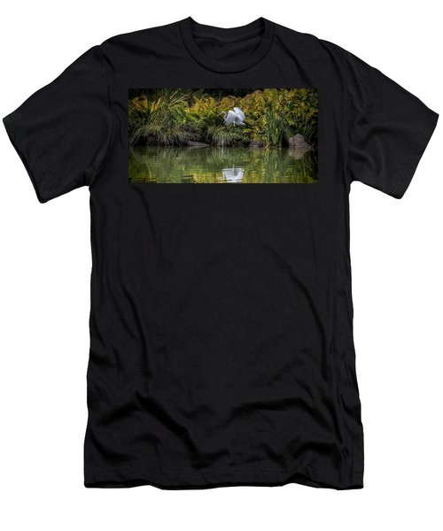 Men's T-Shirt (Slim Fit) featuring the photograph Egret At The Lake by Chris Lord