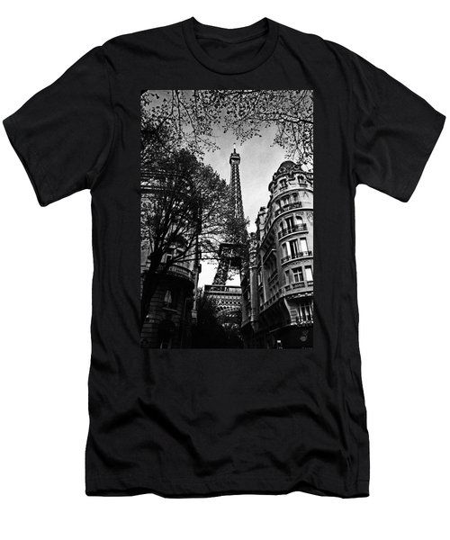 Eiffel Tower Black And White Men's T-Shirt (Athletic Fit)