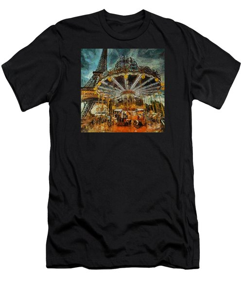 Eiffel Tower Carousel Men's T-Shirt (Athletic Fit)