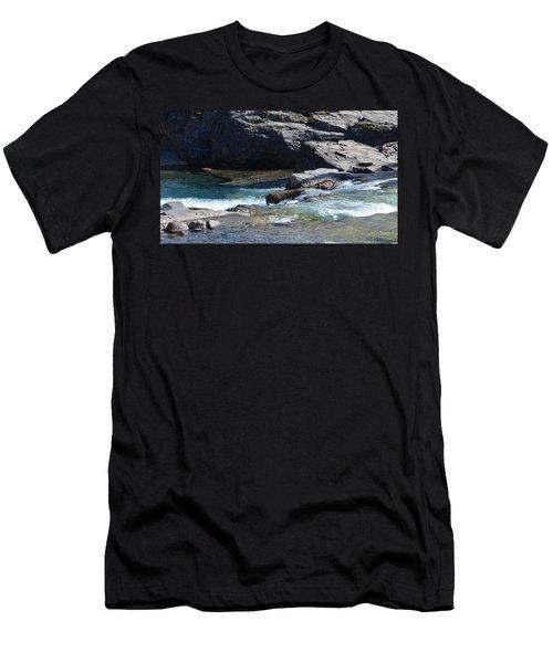 Elbow Falls Landscape Men's T-Shirt (Slim Fit) by Cheryl Miller