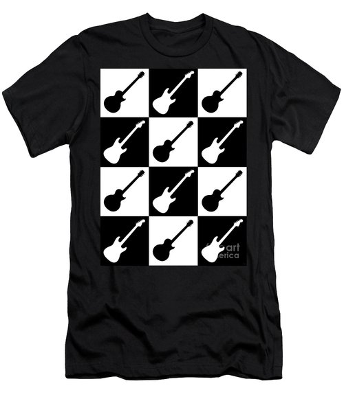 Electric Guitar Checkerboard Men's T-Shirt (Athletic Fit)