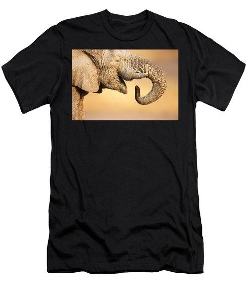 Elephant Drinking Men's T-Shirt (Athletic Fit)
