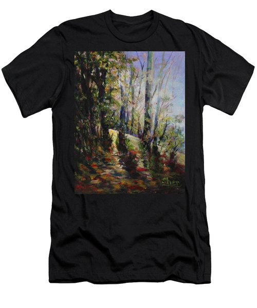 Men's T-Shirt (Slim Fit) featuring the painting Enchanted Forest by Sher Nasser