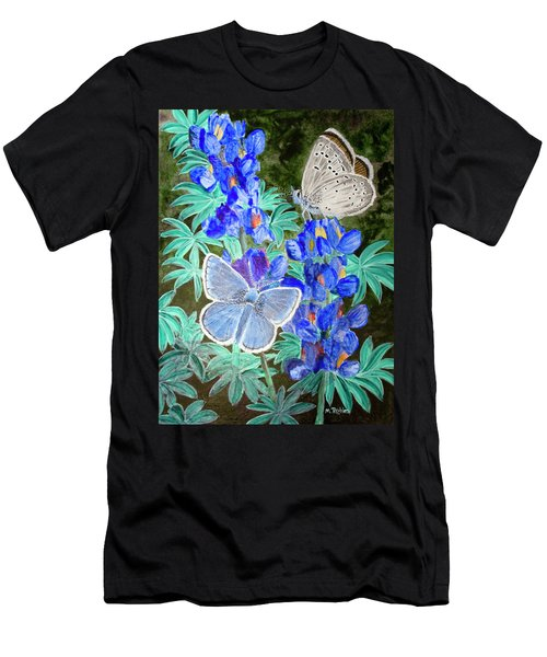 Endangered Mission Blue Butterfly Men's T-Shirt (Slim Fit) by Mike Robles