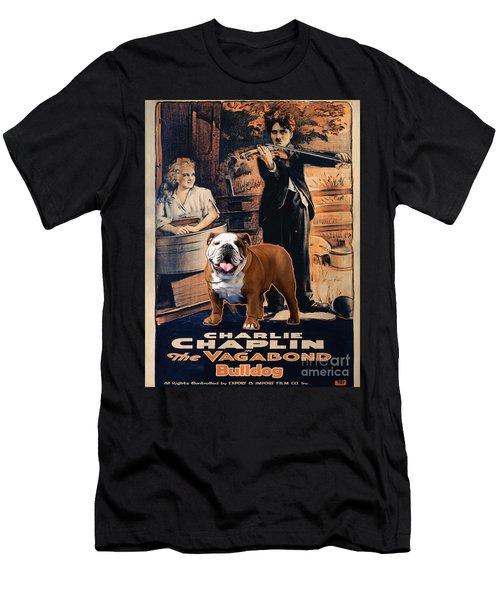 English Bulldog Art Canvas Print - The Vagabond Movie Poster Men's T-Shirt (Athletic Fit)