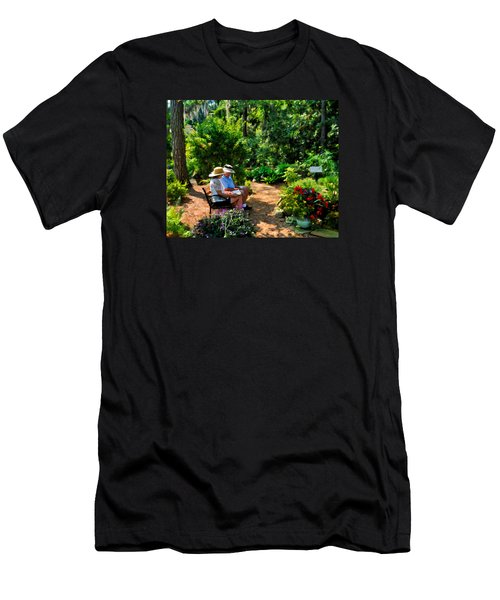 Loving Couple Enjoying Their Prayer Garden Men's T-Shirt (Athletic Fit)