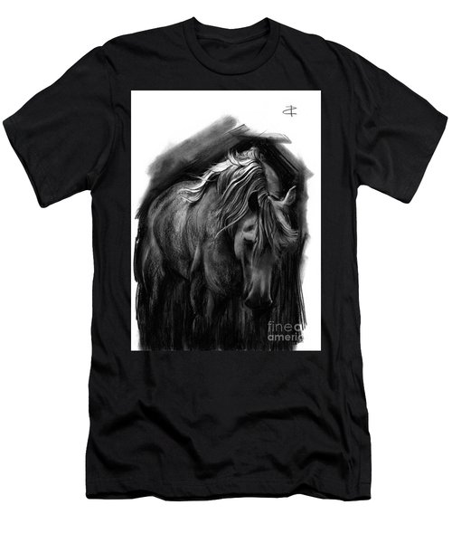Men's T-Shirt (Slim Fit) featuring the drawing Equine 1 by Paul Davenport