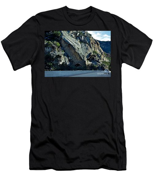 Men's T-Shirt (Slim Fit) featuring the photograph Eroding Hillside And Tunnel by Susan Wiedmann