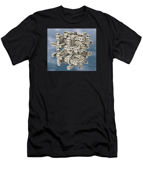 Men's T-Shirt (Slim Fit) featuring the digital art Escher's Construct by Manny Lorenzo