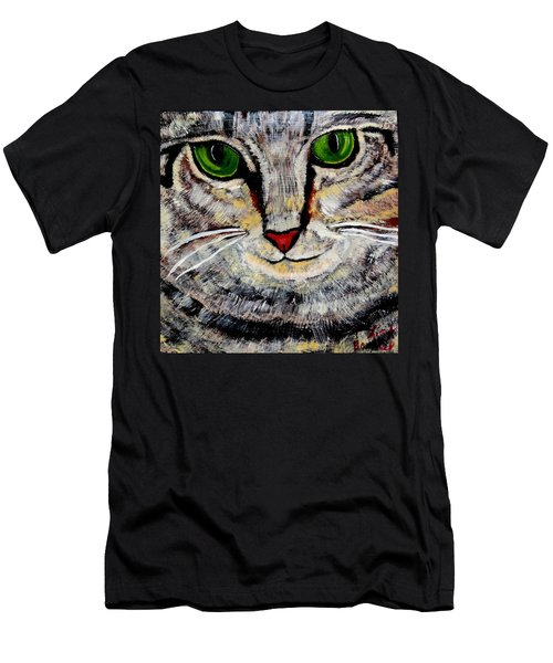 Ethical Kitty See's Your Dilemma Men's T-Shirt (Slim Fit) by Lisa Brandel