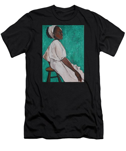 Ethiopian Woman In Green Men's T-Shirt (Athletic Fit)