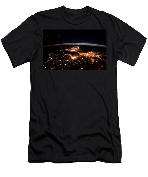 Men's T-Shirt (Slim Fit) featuring the photograph Europe At Night, Satellite View by Science Source