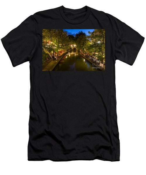 Men's T-Shirt (Athletic Fit) featuring the photograph Evening Canal Dinner by John Wadleigh
