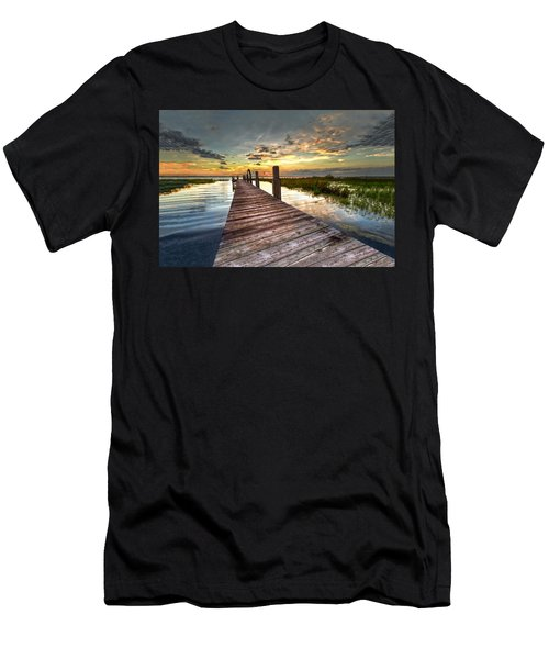 Men's T-Shirt (Athletic Fit) featuring the photograph Evening Dock by Debra and Dave Vanderlaan