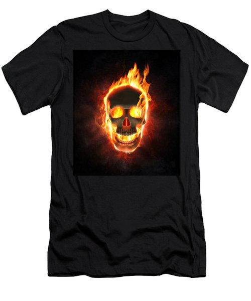 Evil Skull In Flames And Smoke Men's T-Shirt (Athletic Fit)