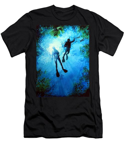 Men's T-Shirt (Athletic Fit) featuring the painting Exploring New Worlds by Hanne Lore Koehler