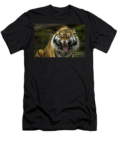 Men's T-Shirt (Slim Fit) featuring the photograph Eyes Of The Tiger by Mike  Dawson
