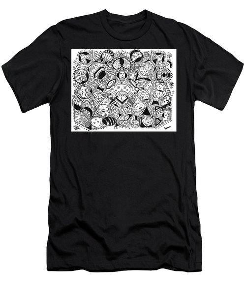 Faces In The Crowd Men's T-Shirt (Slim Fit) by Susie Weber
