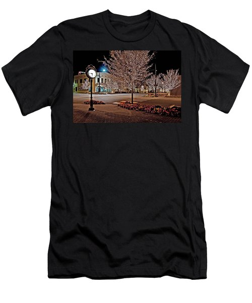Fairhope Ave With Clock Night Image Men's T-Shirt (Athletic Fit)