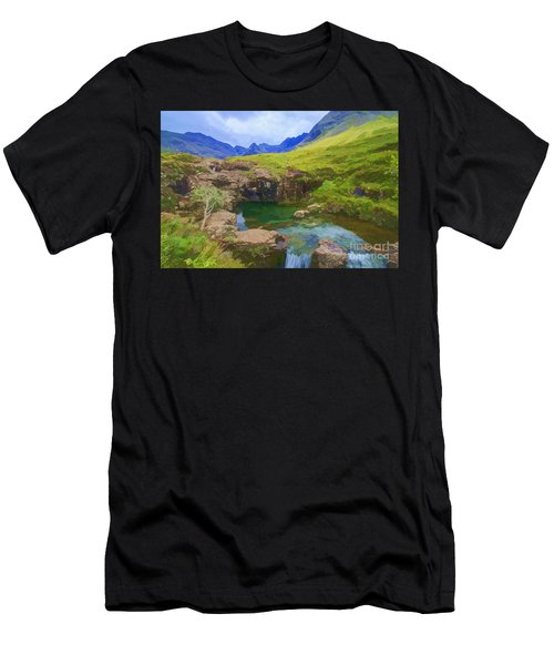 Fairy Pools Of Skye Watercolour Men's T-Shirt (Athletic Fit)