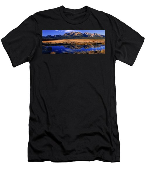 Men's T-Shirt (Slim Fit) featuring the photograph Fall Reflections Sawtooth Mountains Idaho by Dave Welling