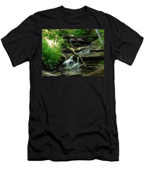 Men's T-Shirt (Slim Fit) featuring the photograph Falling Water by Alan Lakin