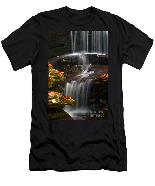 Falls And Fall Leaves Men's T-Shirt (Athletic Fit)