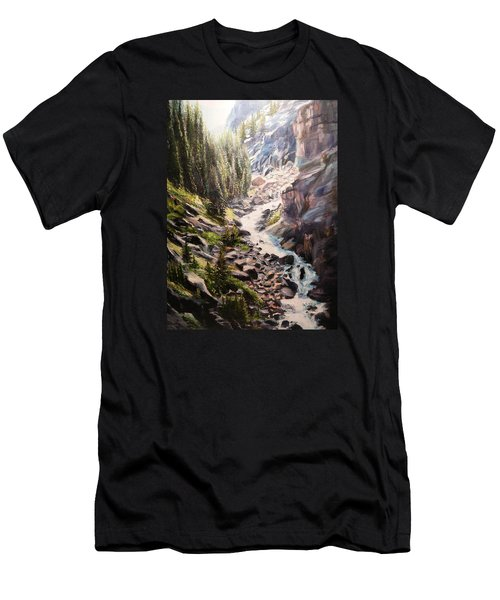 Falls Below Rimrock Lake Men's T-Shirt (Slim Fit) by Patti Gordon