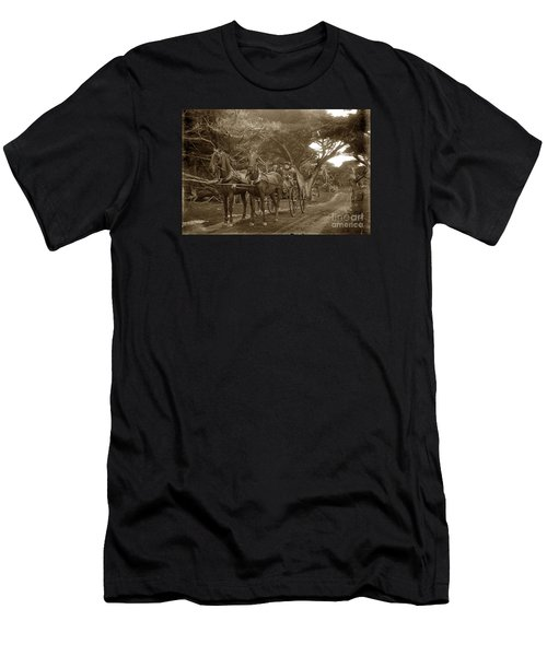 Family Out Carriage Ride On The 17 Mile Drive In Pebble Beach Circa 1895 Men's T-Shirt (Athletic Fit)