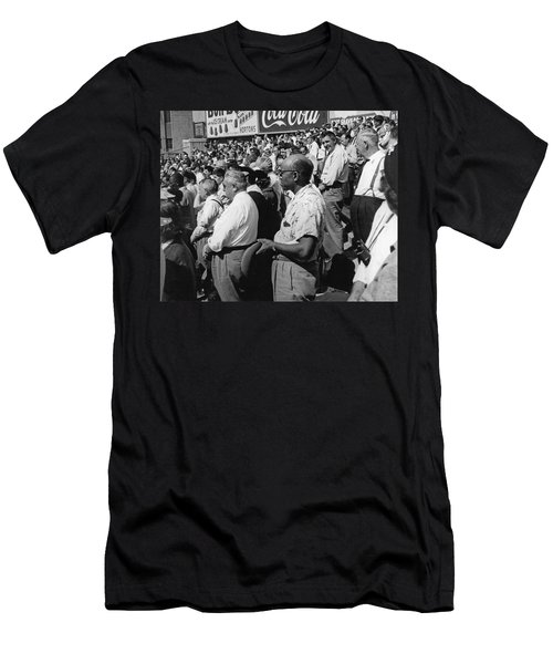 Fans At Yankee Stadium Stand For The National Anthem At The Star Men's T-Shirt (Slim Fit) by Underwood Archives