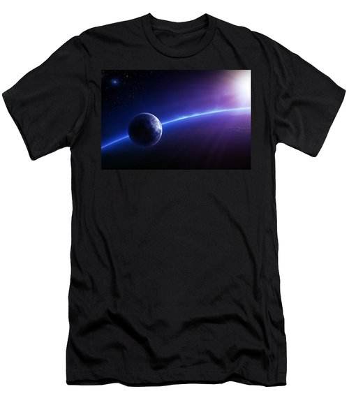 Fantasy Earth And Moon With Colourful  Sunrise Men's T-Shirt (Athletic Fit)
