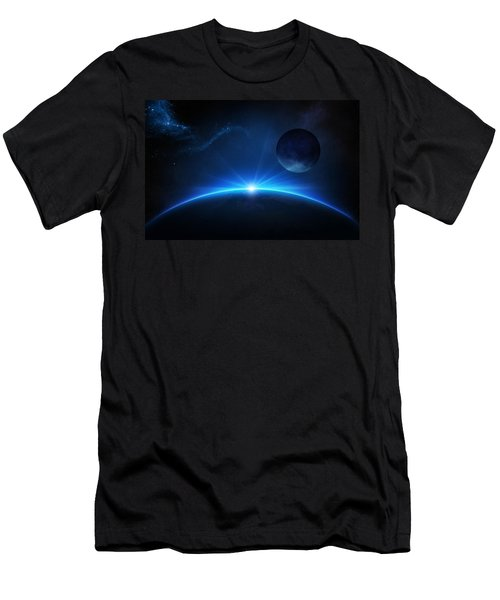 Fantasy Earth And Moon With Sunrise Men's T-Shirt (Athletic Fit)