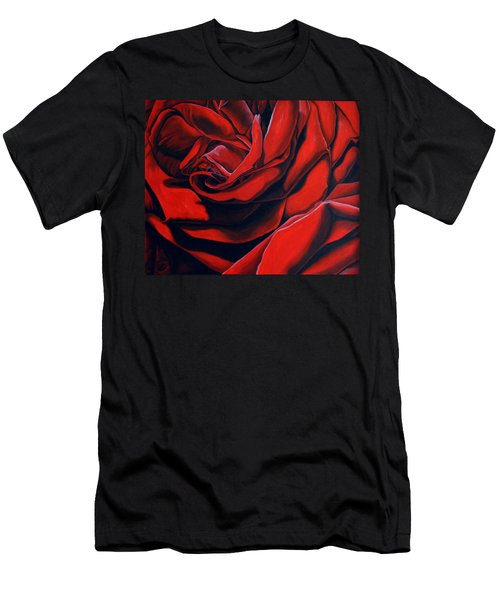 Men's T-Shirt (Slim Fit) featuring the painting February Rose by Thu Nguyen