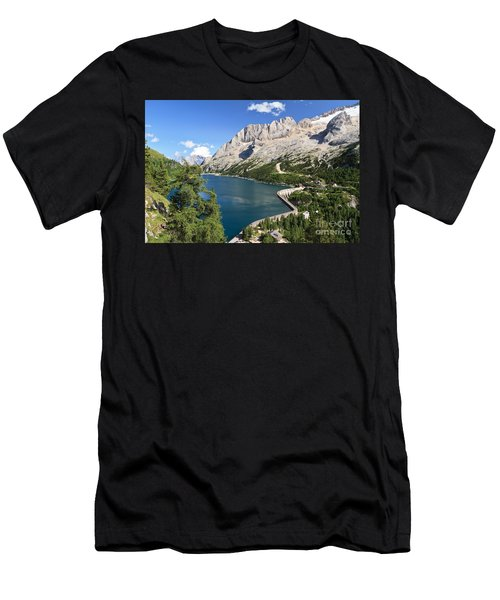 Men's T-Shirt (Slim Fit) featuring the photograph Fedaia Pass With Lake by Antonio Scarpi