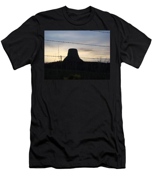 Men's T-Shirt (Slim Fit) featuring the photograph Fencing Devil's Tower by Cathy Anderson