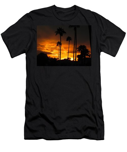 Men's T-Shirt (Slim Fit) featuring the photograph Fiery Sunset by Deb Halloran