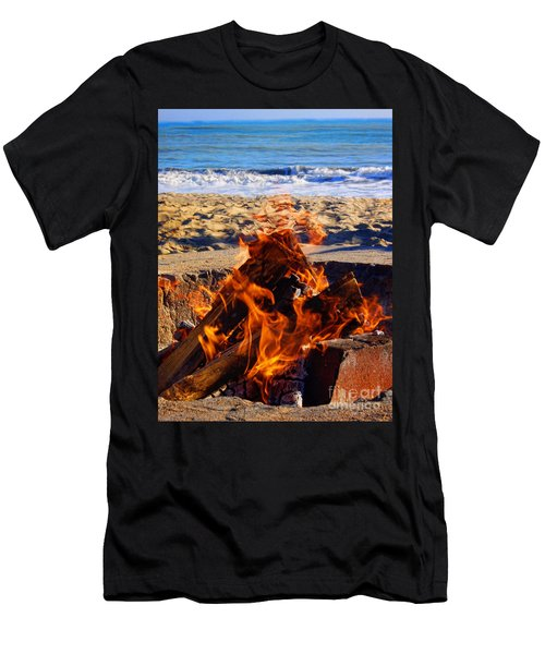 Men's T-Shirt (Slim Fit) featuring the photograph Fire At The Beach by Mariola Bitner