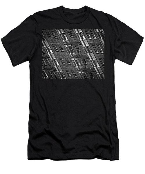 Fire Escape - Monochrome Men's T-Shirt (Slim Fit) by Mark Alder