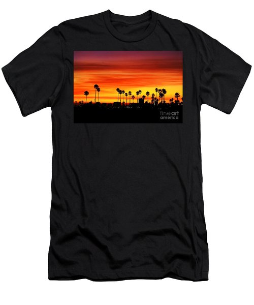 Men's T-Shirt (Slim Fit) featuring the photograph Fire Sunset In Long Beach by Mariola Bitner