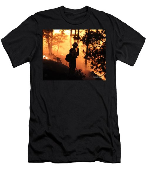 Men's T-Shirt (Slim Fit) featuring the photograph Firefighter At Night On The White Draw Fire by Bill Gabbert