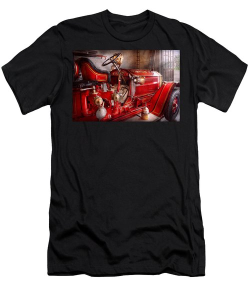 Fireman - Truck - Waiting For A Call Men's T-Shirt (Slim Fit) by Mike Savad