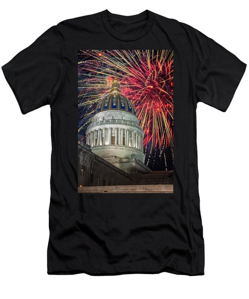 Fireworks At Wv Capitol Men's T-Shirt (Athletic Fit)