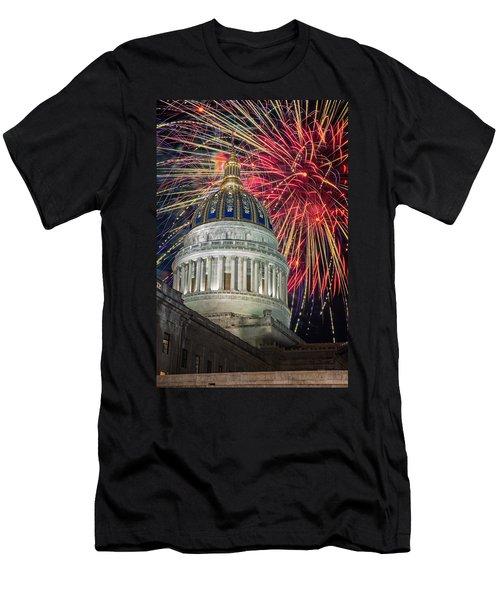 Fireworks At Wv Capitol Men's T-Shirt (Athletic Fit)